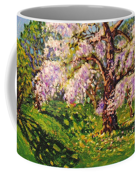 Scenic Coffee Mug featuring the painting April Dream by Jonathan Carter