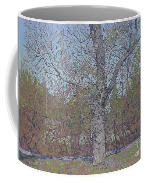 April Coffee Mug featuring the painting April by Simon Kozhin
