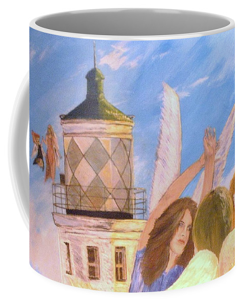 Look April Coffee Mug featuring the painting Aprils Flying by J Bauer