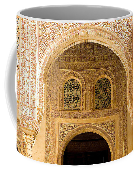 Cuarto Coffee Mug featuring the photograph Arabesque Ornamental Designs At The Casa Real In The Nasrid Palaces At The Alhambra by Mal Bray