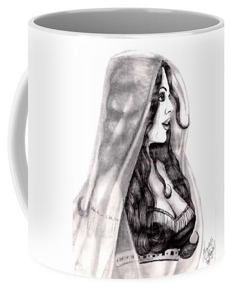 Figure Coffee Mug featuring the drawing Arabian Beauty by Scarlett Royal