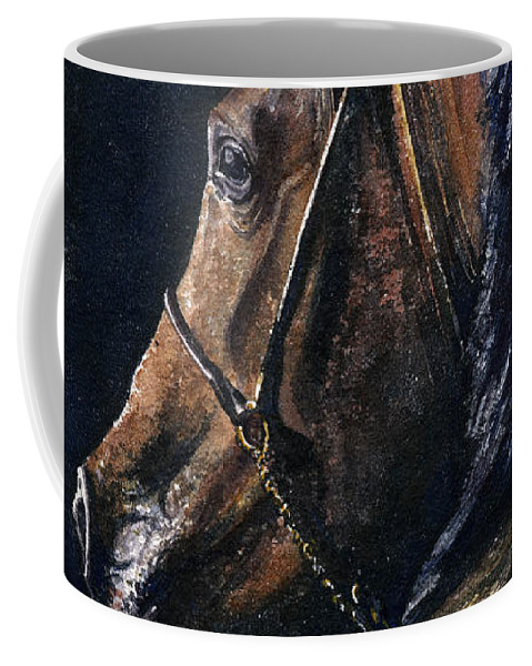 Horse Coffee Mug featuring the painting Arabian by John D Benson