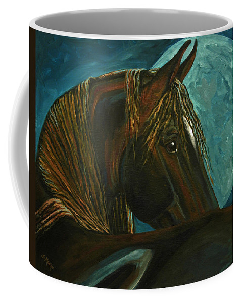 Acrylic Coffee Mug featuring the painting Arabian Moon by Suzanne McKee