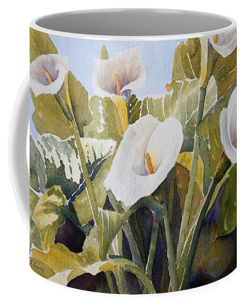 Watercolor Coffee Mug featuring the painting Aram Lillies by Susan Heine