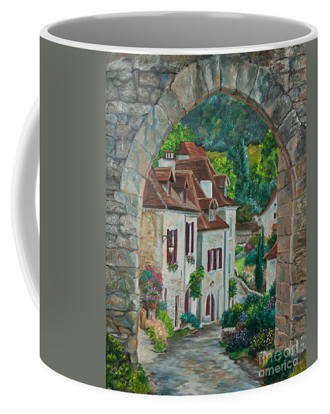 St. Cirq In Lapopie France Coffee Mug featuring the painting Arch Of Saint-cirq-lapopie by Charlotte Blanchard