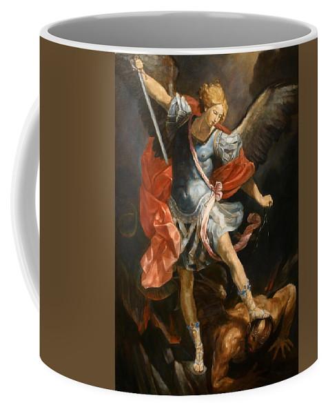 Realism Coffee Mug featuring the painting Archangel Michael by Darko Topalski