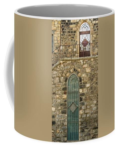Tiberias Coffee Mug featuring the digital art Arched Door And Window by Tsafreer Bernstein