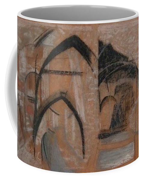 Arches Architecture Hiltowns France Prague Pastel Drawing Orange Europe Abstract Coffee Mug featuring the drawing Arches by Lori Lazar