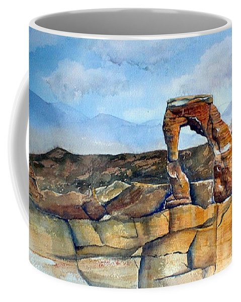 Arches National Park Coffee Mug featuring the painting Arches National Park by Debbie Lewis