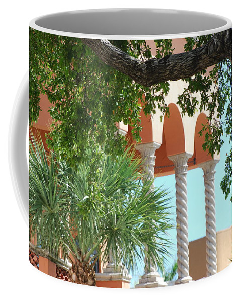 Architecture Coffee Mug featuring the photograph Arches Thru The Trees by Rob Hans