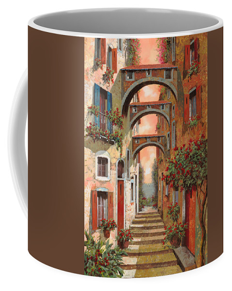 Arches Coffee Mug featuring the painting Archetti In Rosso by Guido Borelli