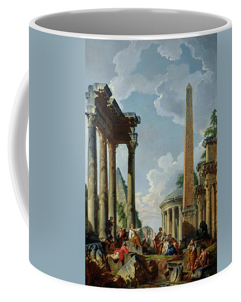 Architectural Coffee Mug featuring the painting Architectural Capriccio With A Preacher In The Ruins by Giovanni Paolo Pannini or Panini