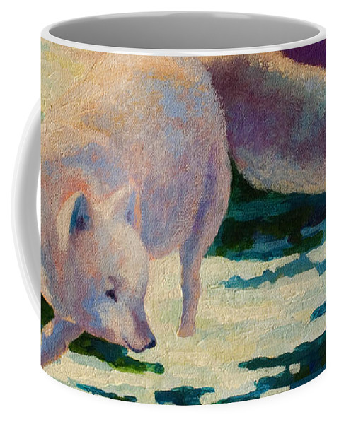 Arctic Coffee Mug featuring the painting Arctic Fox by Marion Rose