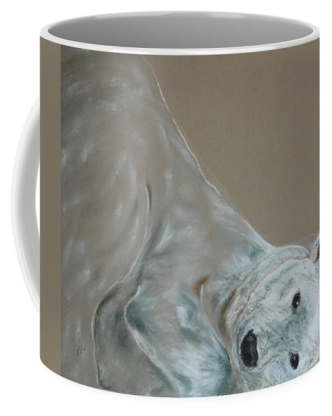 Polar Bear Coffee Mug featuring the drawing Arctic Frolic by Cori Solomon