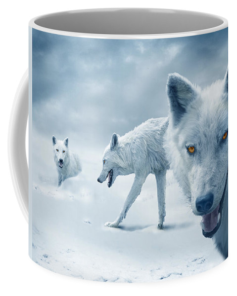 Arctic Coffee Mug featuring the photograph Arctic Wolves by Mal Bray