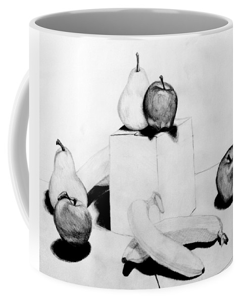 Apple Coffee Mug featuring the drawing Aren't You Glad I Didn't Say Banana by Jean Haynes