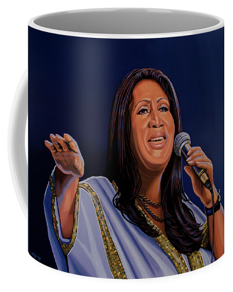 Aretha Franklin Coffee Mug featuring the painting Aretha Franklin Painting by Paul Meijering