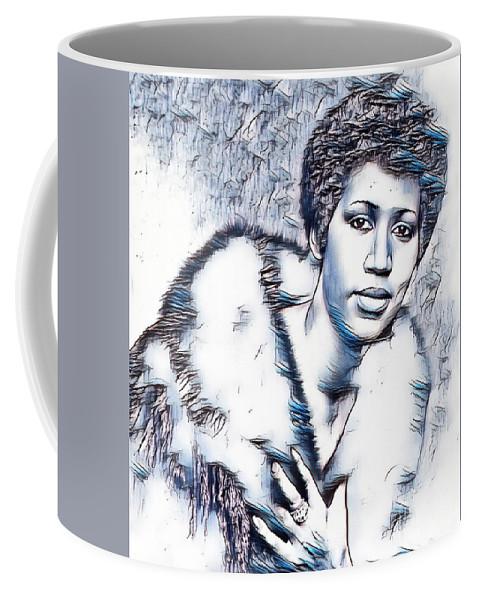 Aretha Franklin Portrait In Blue Coffee Mug featuring the drawing Aretha Franklin Portrait In Blue by Pd