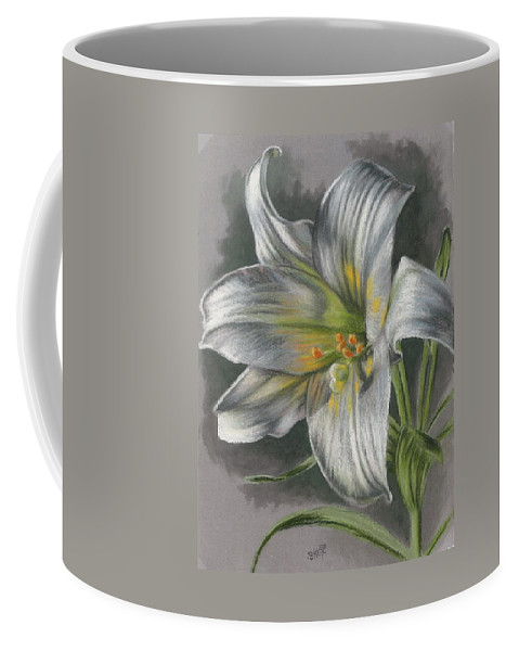 Easter Lily Coffee Mug featuring the mixed media Arise by Barbara Keith