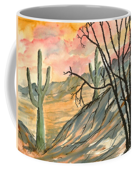 Drawing Coffee Mug featuring the painting Arizona Evening Southwestern Landscape Painting Poster Print by Derek Mccrea