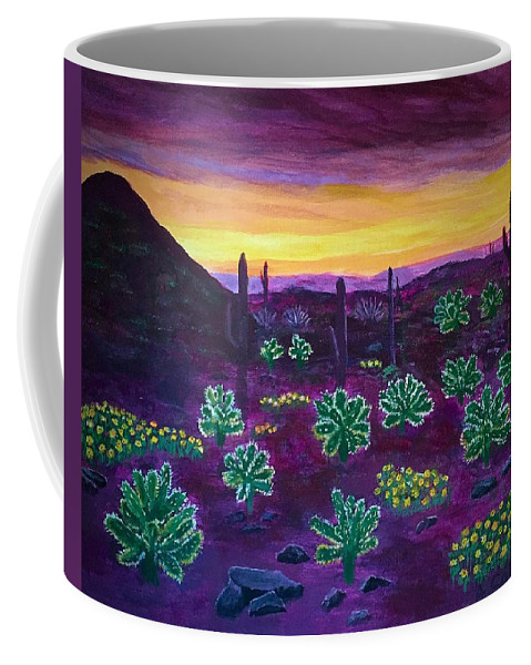 Phoenix Coffee Mug featuring the painting Arizona Landscape by Anne Sands