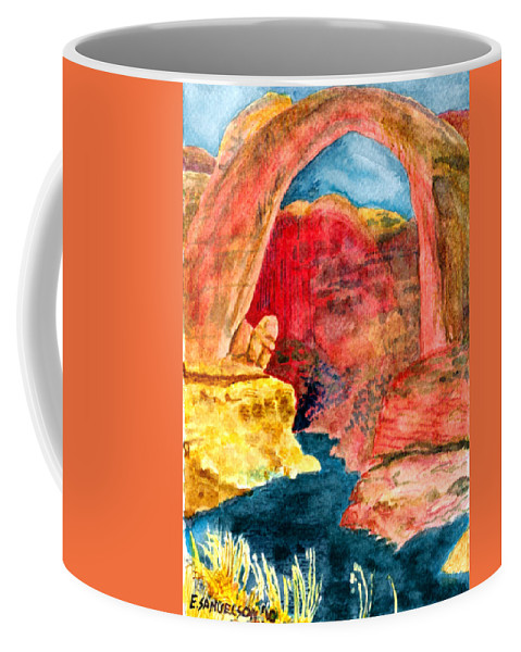 Red Rocks Coffee Mug featuring the painting Arizona Rainbow by Eric Samuelson