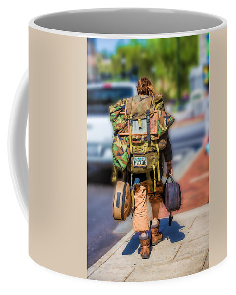 Buskers Coffee Mug featuring the photograph Arizonan In Asheville by John Haldane