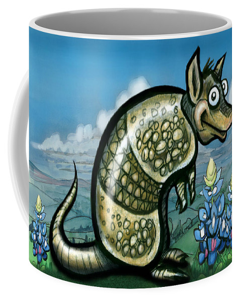 Armadillo Coffee Mug featuring the painting Armadillo N Bluebonnets by Kevin Middleton