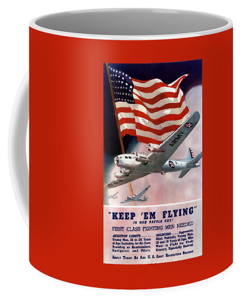 Army Coffee Mug featuring the painting Army Air Corps Recruiting Poster by War Is Hell Store