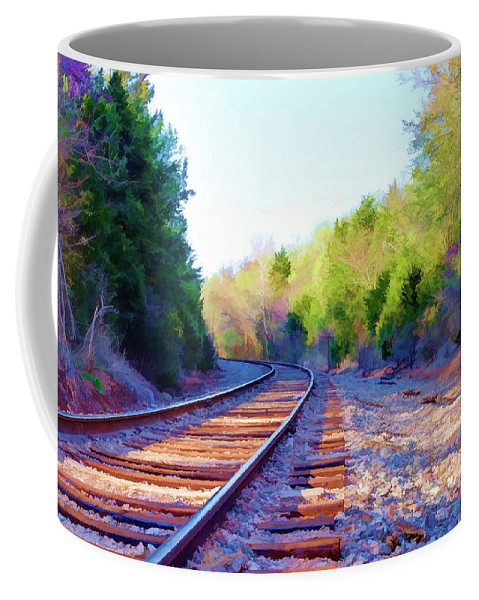 Railroad Coffee Mug featuring the photograph Around The Bend by Ricky Barnard