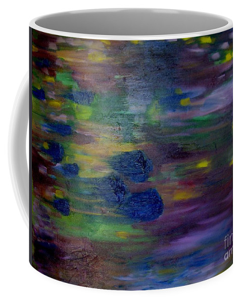 Abstract Coffee Mug featuring the painting Around The Worlds by Laurie Morgan