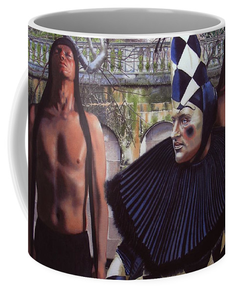 Male Figurative Coffee Mug featuring the painting Arousing Suspicion by Denny Bond