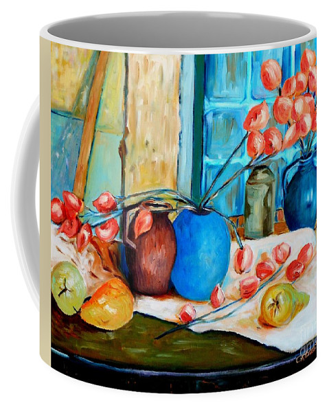 Still Life Coffee Mug featuring the painting Arranging The Flowers by Caroline Street