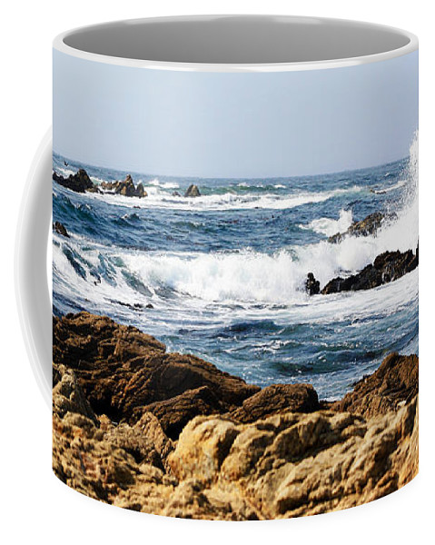 Tide Coffee Mug featuring the photograph Arriving Tide At Pebble Beach by Marilyn Hunt