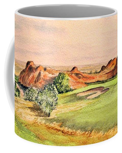 Arrowhead Golf Course Painting Coffee Mug featuring the painting Arrowhead Golf Course Colorado Hole 3 by Bill Holkham