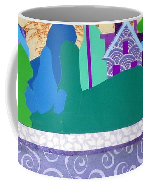 Landscape Coffee Mug featuring the mixed media Art Colony by Debra Bretton Robinson