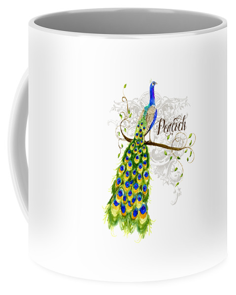 Art Nouveau Coffee Mug featuring the painting Art Nouveau Peacock W Swirl Tree Branch And Scrolls by Audrey Jeanne Roberts