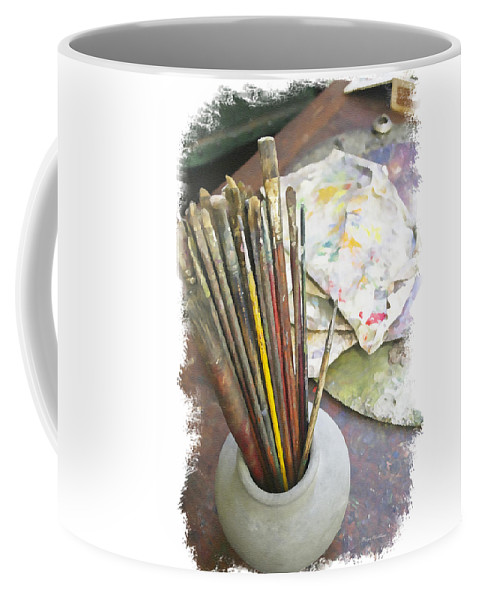 Artist Coffee Mug featuring the photograph Artist Brushes by Margie Wildblood