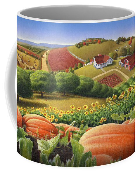 Pumpkin Coffee Mug featuring the painting Farm Landscape - Autumn Rural Country Pumpkins Folk Art - Appalachian Americana - Fall Pumpkin Patch by Walt Curlee