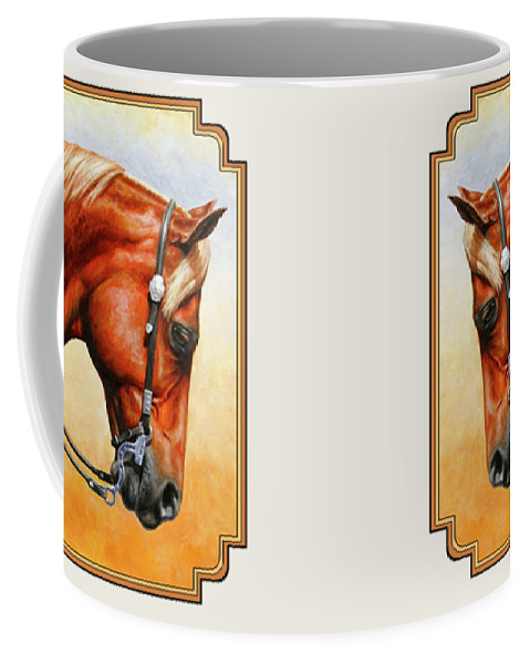 Horse Coffee Mug featuring the painting Precision - Horse Painting by Crista Forest