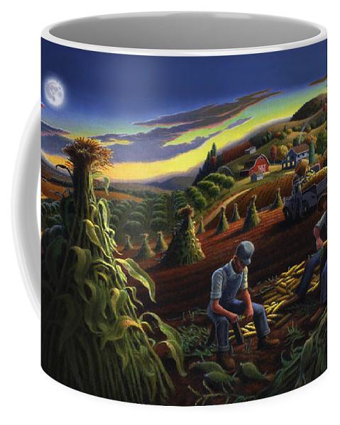 Autumn Coffee Mug featuring the painting Autumn Farmers Shucking Corn Appalachian Rural Farm Country Harvesting Landscape - Harvest Folk Art by Walt Curlee