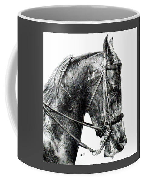 Horse Coffee Mug featuring the drawing Effort by Barbara Keith