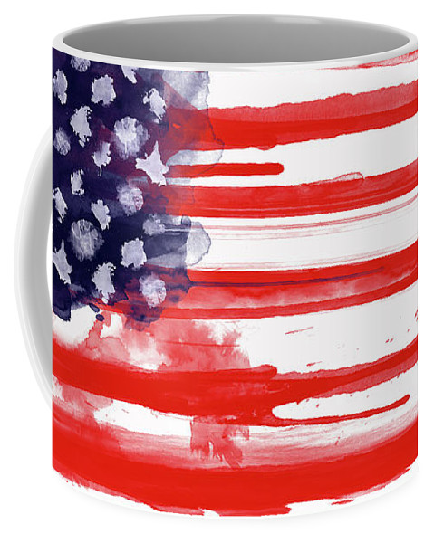 America Coffee Mug featuring the painting American Spatter Flag by Nicklas Gustafsson