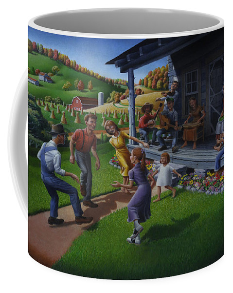Porch Music Coffee Mug featuring the painting Porch Music And Flatfoot Dancing - Mountain Music - Appalachian Traditions - Appalachia Farm by Walt Curlee