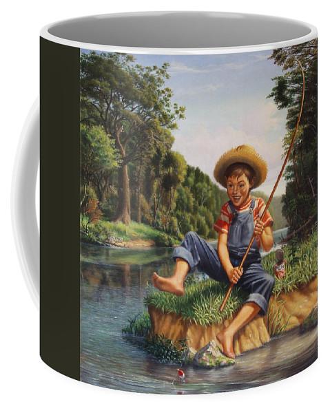 Boy Fishing Coffee Mug featuring the painting Boy Fishing In River Landscape - Childhood Memories - Flashback - Folkart - Nostalgic - Walt Curlee by Walt Curlee