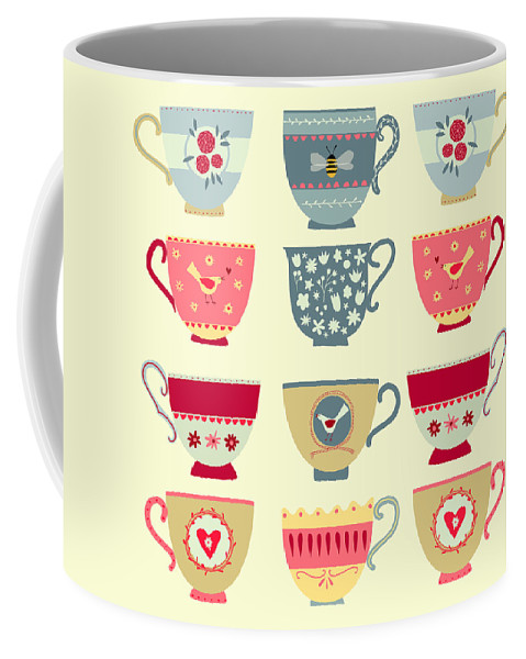Tea Coffee Mug featuring the painting Tea Cups by Nic Squirrell