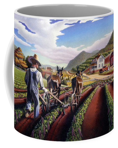 Appalachian Coffee Mug featuring the painting Appalachian Folk Art Summer Farmer Cultivating Peas Farm Farming Landscape Appalachia Americana by Walt Curlee