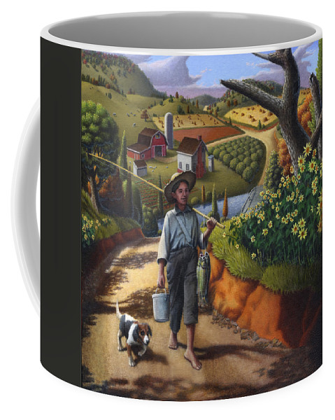 Boy And Dog Coffee Mug featuring the painting Boy And Dog Farm Landscape - Flashback - Childhood Memories - Americana - Painting - Walt Curlee by Walt Curlee