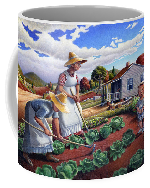 Farm Family Coffee Mug featuring the painting Family Vegetable Garden Farm Landscape - Gardening - Childhood Memories - Flashback - Homestead by Walt Curlee