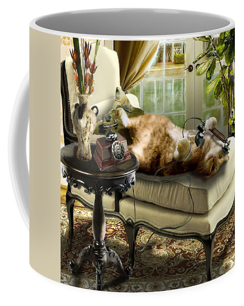 Pet Cat Painting Coffee Mug featuring the painting Funny Pet Talking On The Phone by Regina Femrite